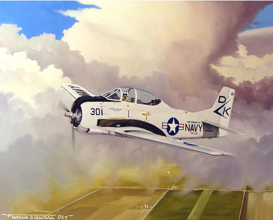 Military Painting - T-28 Over Iowa by Marc Stewart