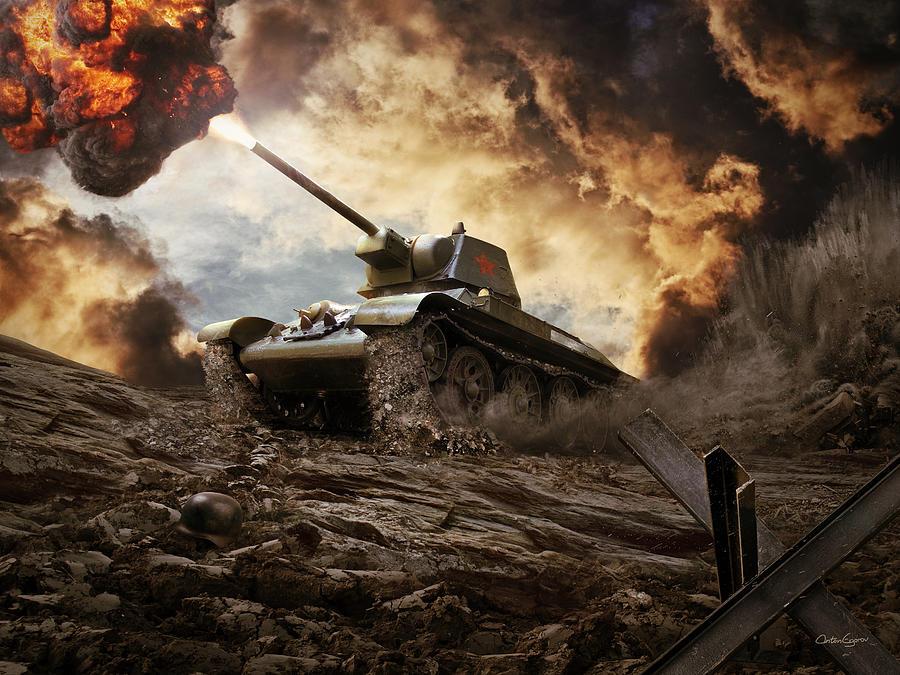 Tank Digital Art - T-34 Soviet Medium Tank Wwii by Anton Egorov