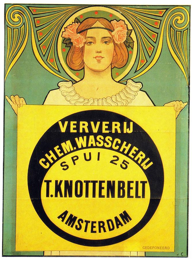 T Knottenbelt, Amsterdam - Ververij Chem - Vintage Advertising Poster Mixed Media