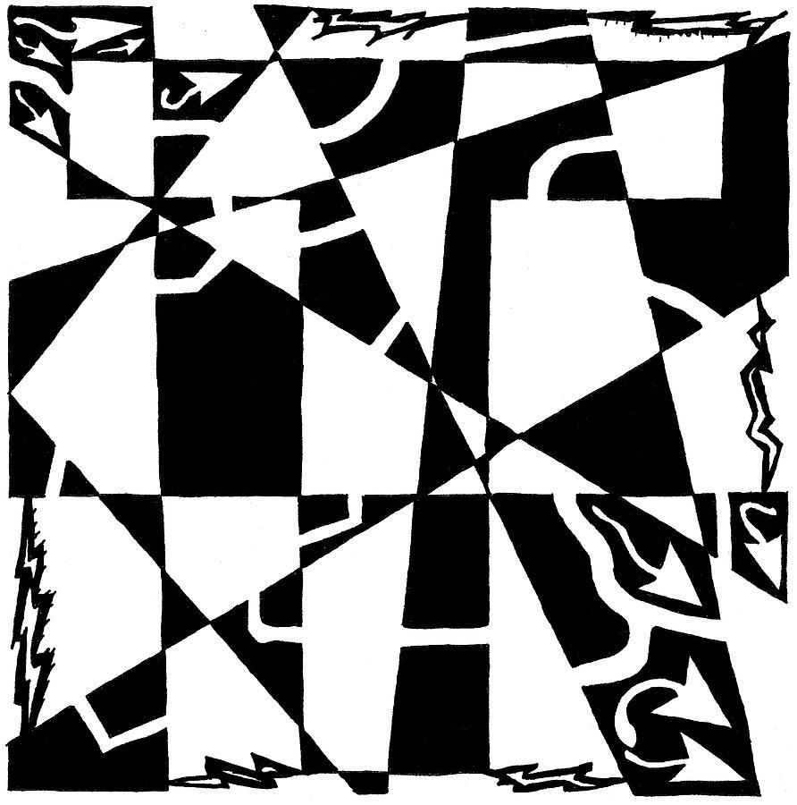 Maze Drawing - T Maze by Yonatan Frimer Maze Artist