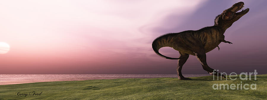 Tyrannosaurus Rex Painting - T-rex At Sunrise by Corey Ford
