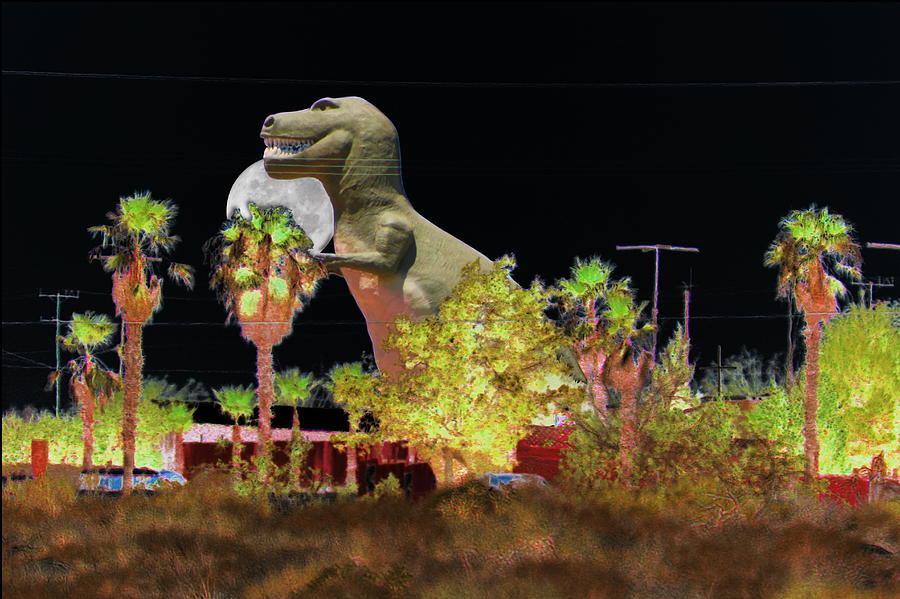 Dino Digital Art - T-Rex In The Desert Night by Colleen Cornelius