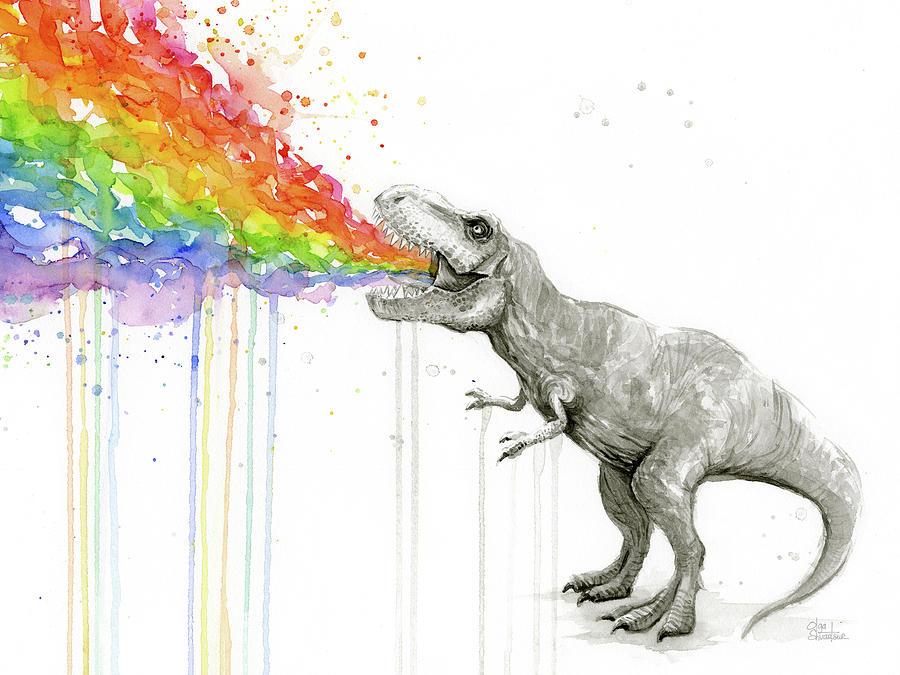 T Rex Tastes The Rainbow Painting By Olga Shvartsur