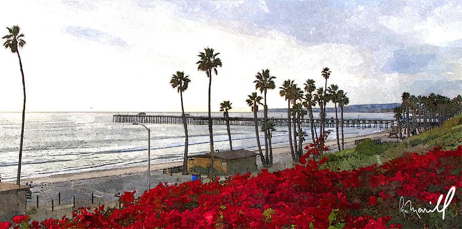 T Street Digital Art - T-street View Of San Clemente Pier by Roger Merrill