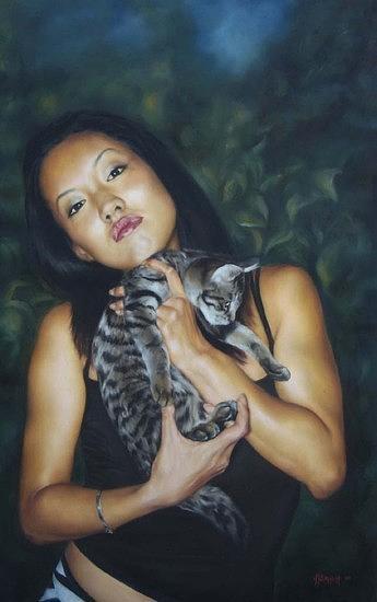 Portrait Painting - Tabby Cat by Angela Baggett