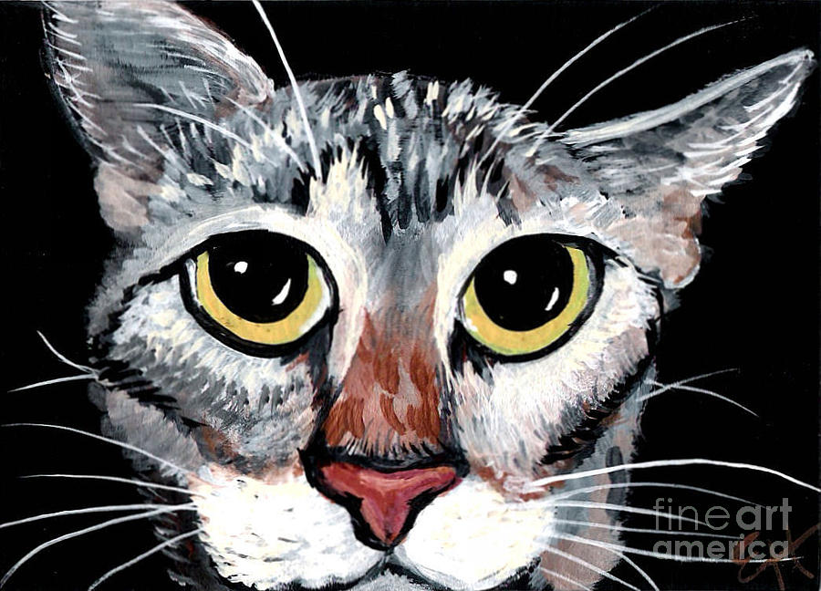 Cat Painting - Tabby Eyes by Elaine Hodges