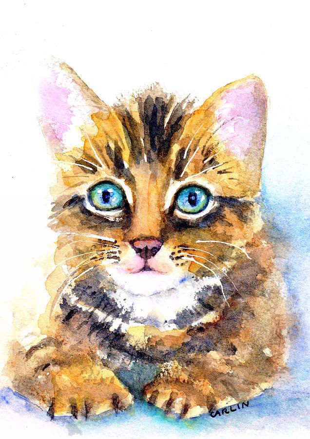 Kitten Painting - Tabby Kitten Watercolor by Carlin Blahnik CarlinArtWatercolor