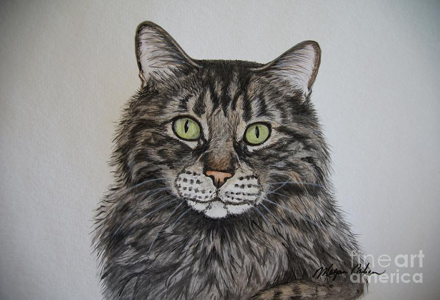 Cat Painting - Tabby-lil Bit by Megan Cohen