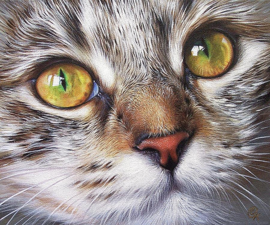 Close-up Painting - Tabby Look by Elena Kolotusha