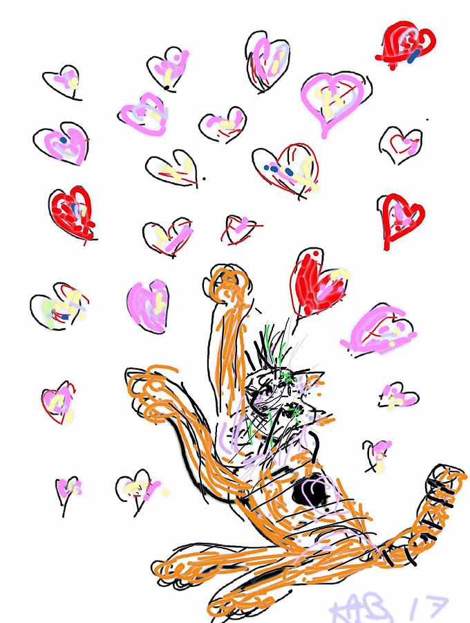 Tabby Playing With Hearts by Kathy Barney