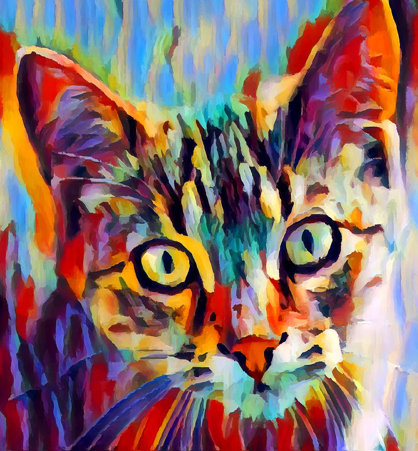 Tabby Painting - Tabby Portrait by Chris Butler