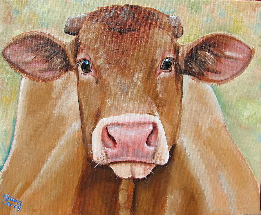 Simmental Painting - Tabitha by Laura Carey