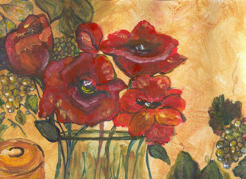 Flowers Painting - Table Flowers by Pamela Wilson