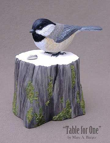 Chickadee Sculpture - Table For One by Marc  Barger