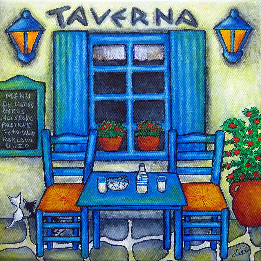 Table for two in greece painting by lisa lorenz for Decorative mural painting