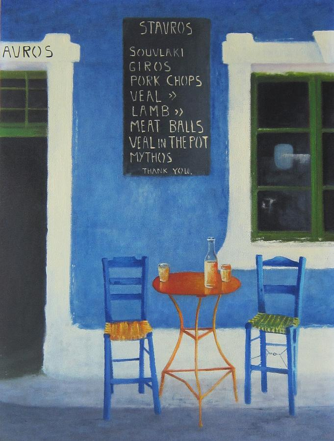 Greek Blue Painting - Greek Blue Table For Two by Ray Gilronan