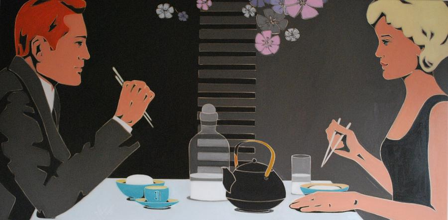 Asian Restaurant Painting - Table For Two by Varvara Stylidou