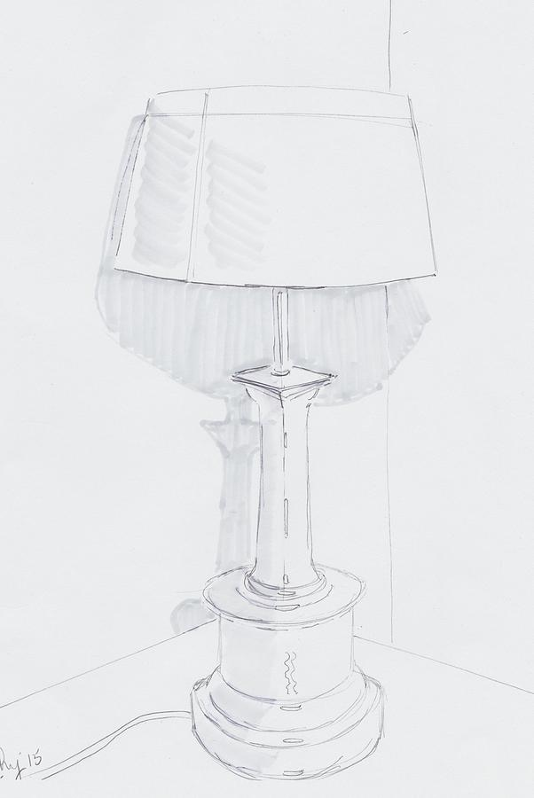 Table lamp drawing a quiet corner drawing by mike jory table lamp drawing table lamp drawing a quiet corner by mike jory aloadofball Image collections