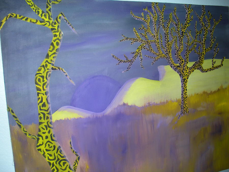 Complementary Color Scheme Painting - Table Mountain by April Copeland
