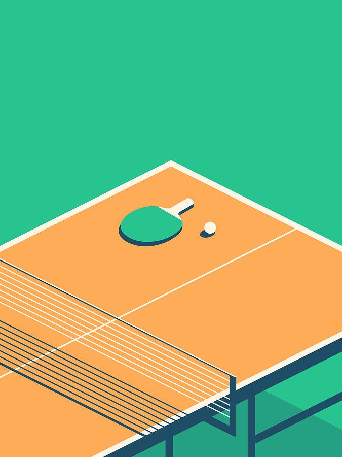 Table Digital Art - Table Tennis Table Isometric - Green by Ivan Krpan