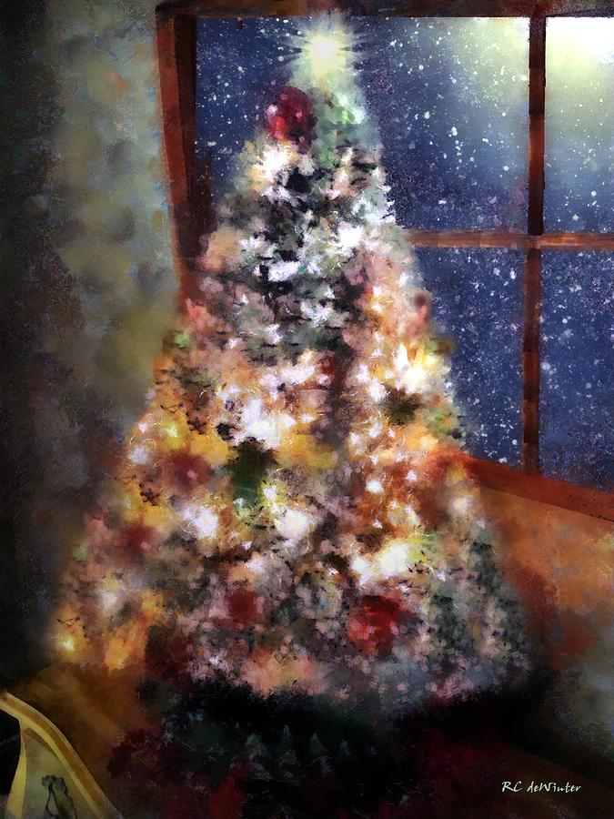 Christmas Painting - Tabletop Tannenbaum by RC DeWinter