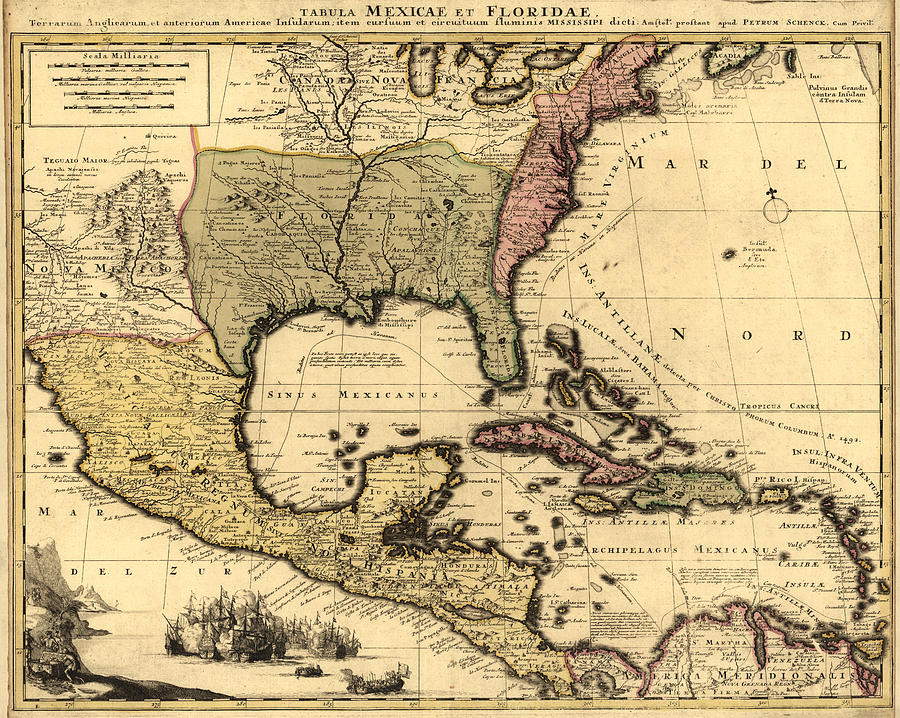 Tabula Mexicae et Floridae 1710 by Texas Map Store