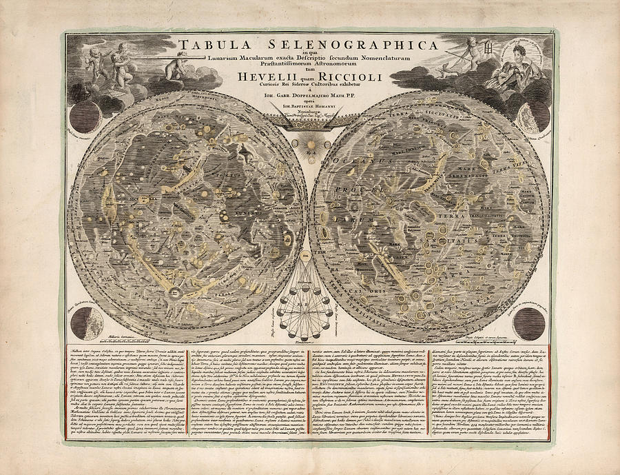 Tabula Selenographica - Map Of The Moon - Lunar Surface - Antique  Illustrated Map - Lunar Map