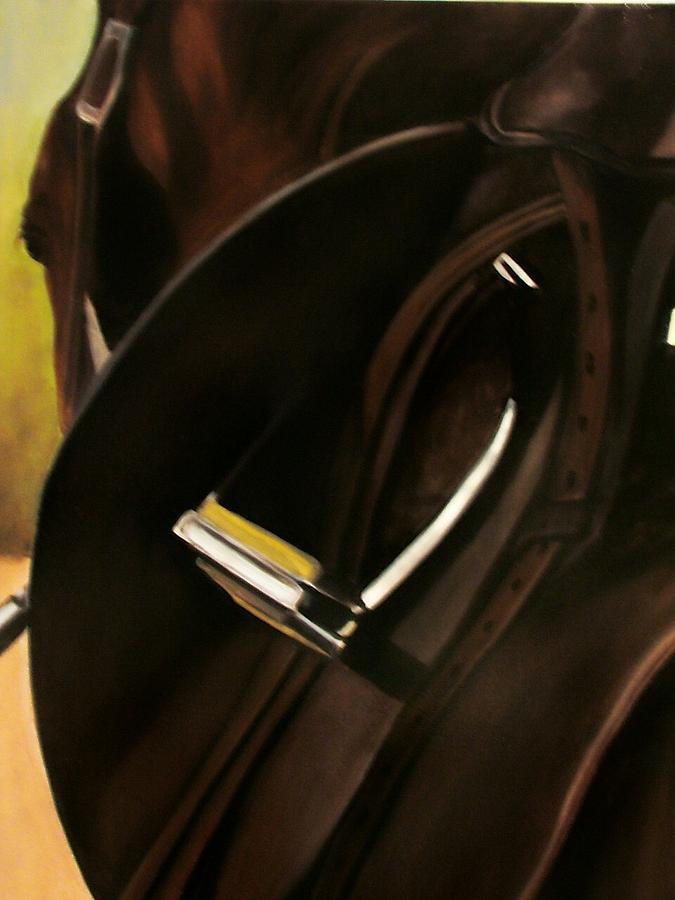 Horse Painting - Tacking Up by Donna Thomas