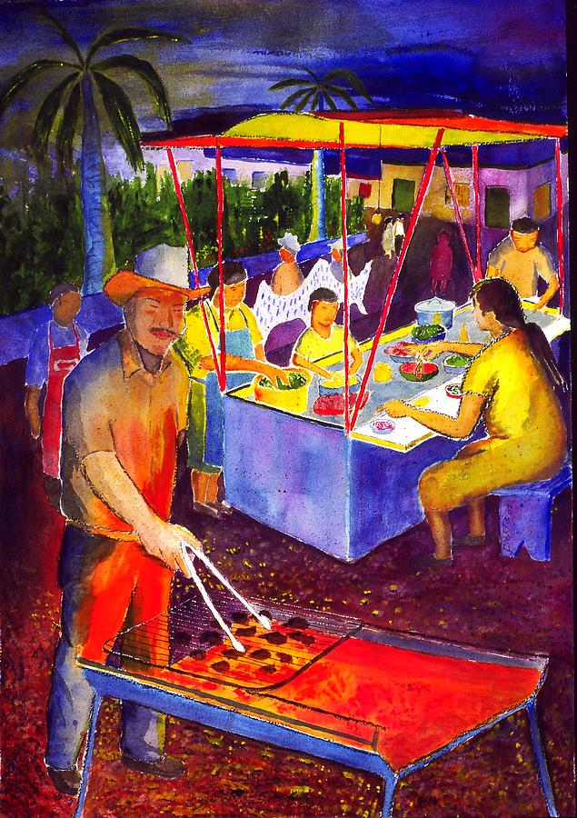 Plaza Painting - Taco Barbaque by Buster Dight