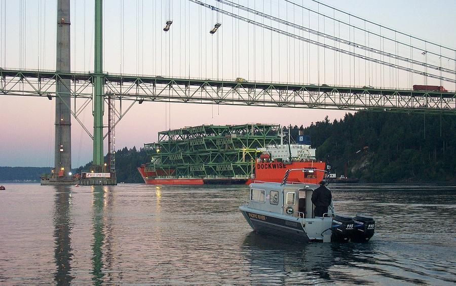 Tacoma Photograph - Tacoma Narrows Bridge With Patrol Boat In Foreground by Alan Espasandin