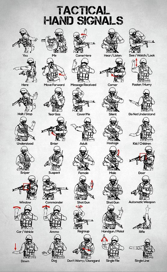 Battle Digital Art - Tactical Hand Signals by Zapista Zapista