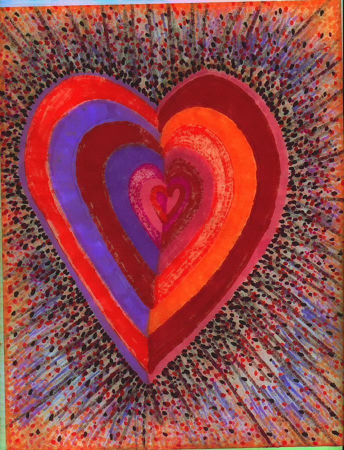 Abstract Drawing - Tada Heart by Brenda Adams
