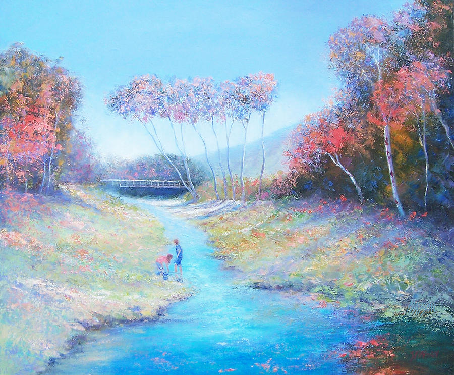 Landscape Painting - Tadpoling By The River by Jan Matson