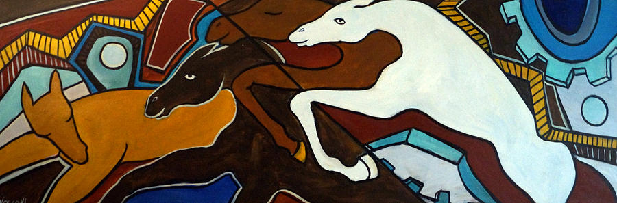 Horse Abstract Painting - Taffy Horses by Valerie Vescovi