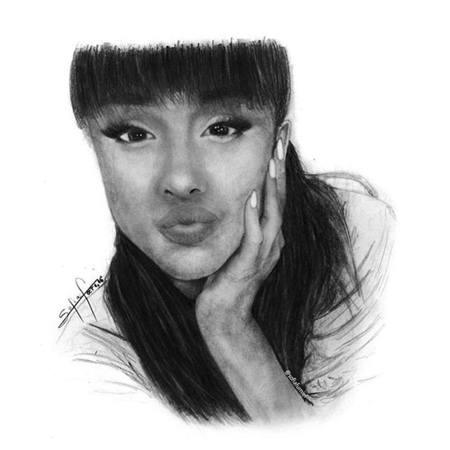 Portrait Drawing - Ariana Grande Drawing By Sofia Furniel by Jul V