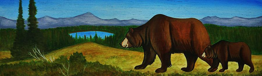 Grizzly Bear Painting - Taggart Lake Bears by Lucy Deane