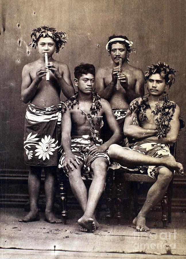 1890 Photograph - Tahiti: Men, C1890 by Granger