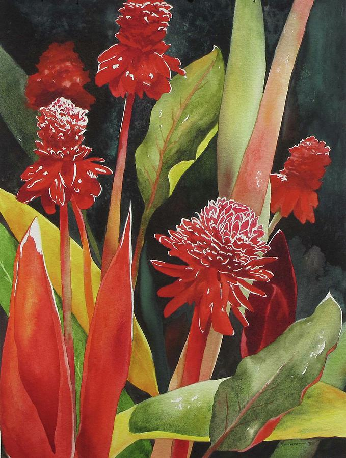 Floral Painting - Tahiti Red by Mary Blumberg