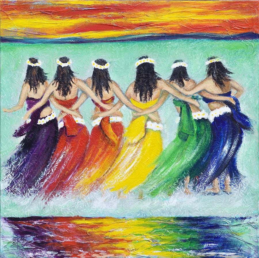 Tahiti Painting - Tahitian Dancers by Reza Sepahdari