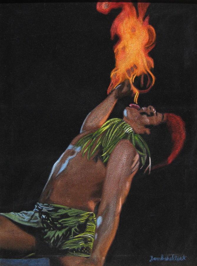 Black Velvet Painting - Tahitian Fire God by Diane Bombshelter