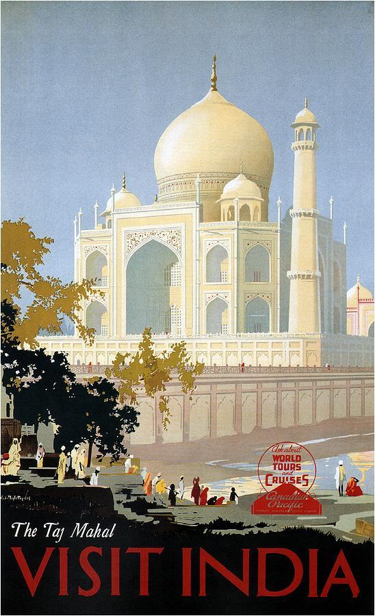 Taj Mahal Agra India - Vintage Travel Advertising Poster Painting
