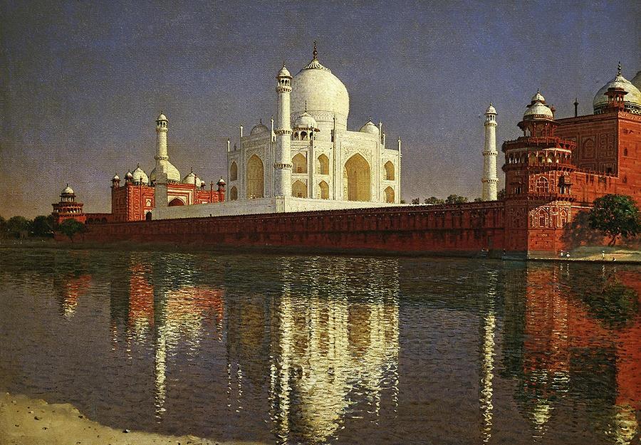 Agra Painting - Taj Mahal Mausoleum. Agra by Vasily Vereshchagin