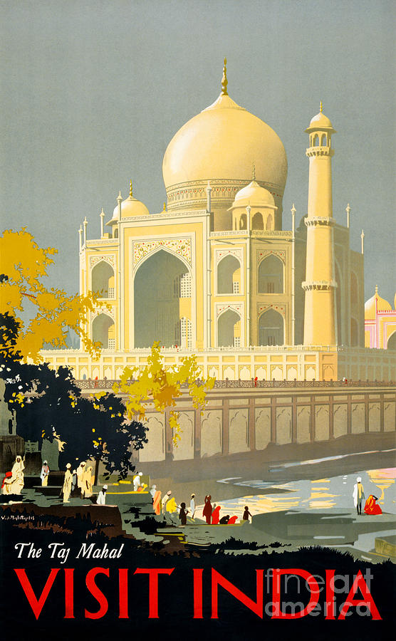 Vintage Painting - Taj Mahal Visit India Vintage Travel Poster Restored by Vintage Treasure