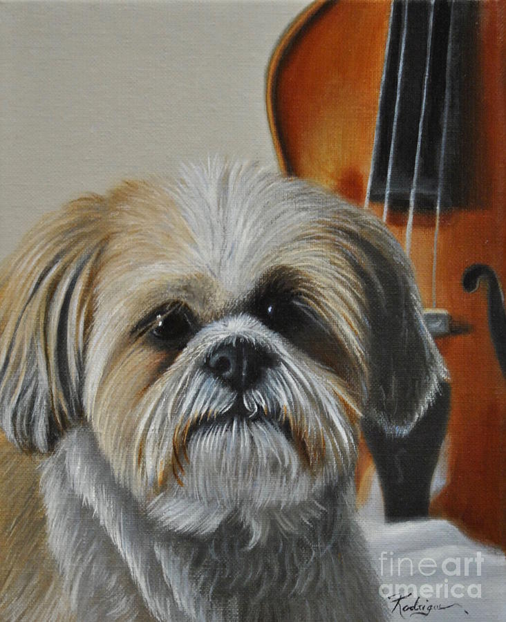 Pet Portrait Painting - Taja Shih Tzu Portrait by Carole Rodrigue