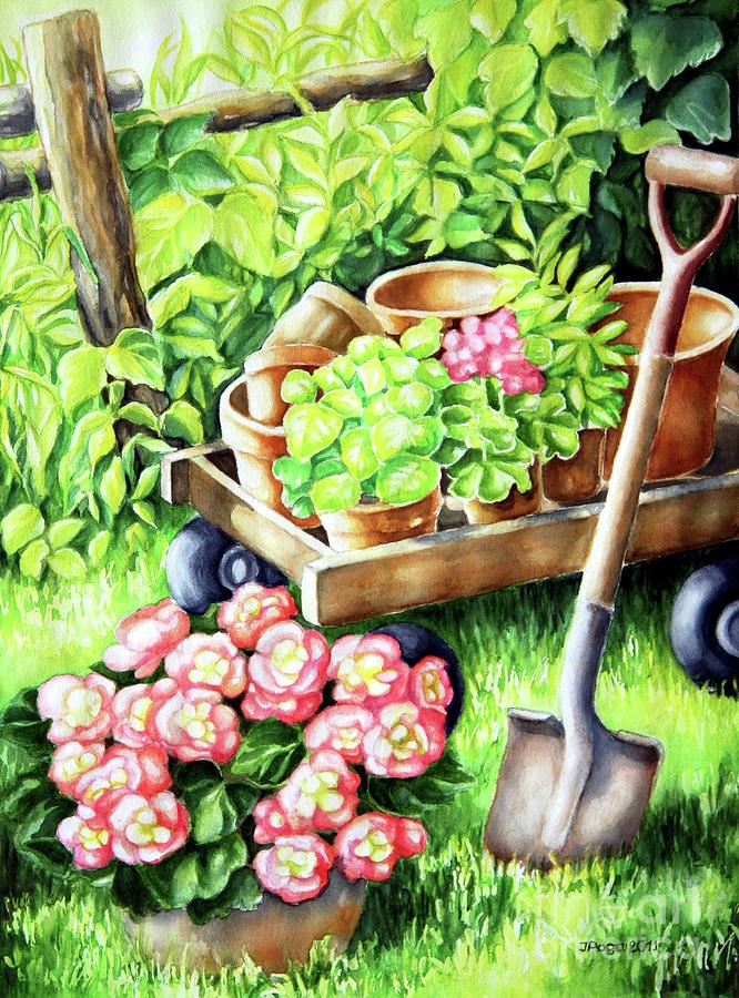 Garden Scene Watercolour Painting - Take A Rest by Inese Poga