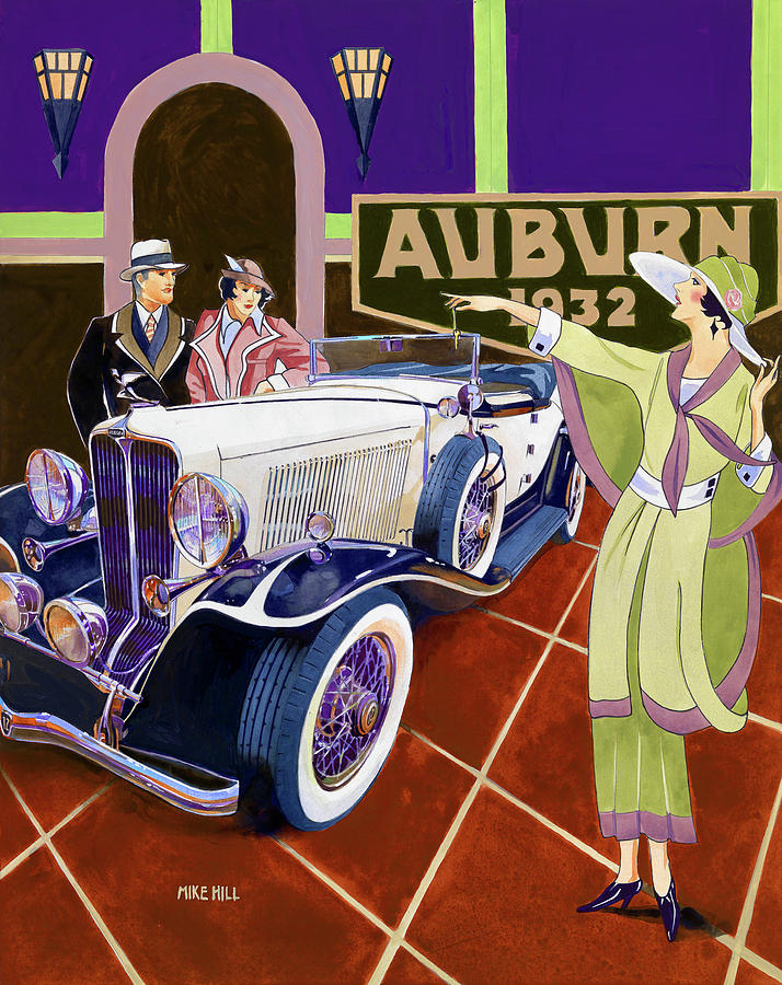 Auburn Speedster Boattail 1932 Roadster Classic Car Antique Deco Art Watercolor Gouache Fashion Thirties Twenties Styles Automobile Auto Showroom Sales Salesroom New Car '32 Depression V12 Supercharger Dress High Style Duesenberg Cord Painting - Take It For A Spin by Mike Hill