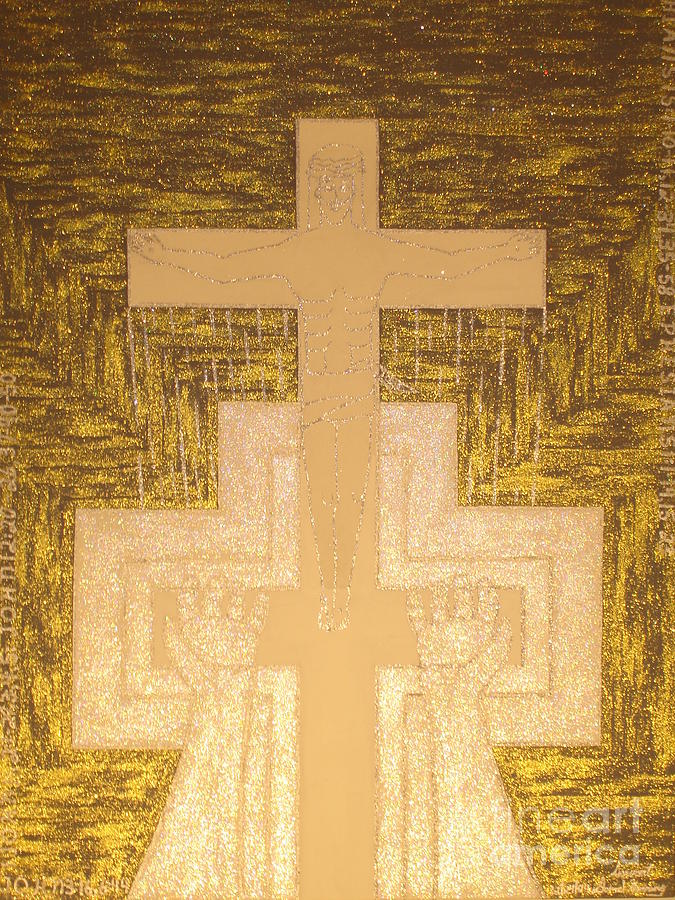 Silver Painting - Take It To The Cross Silver Gold by Daniel Henning