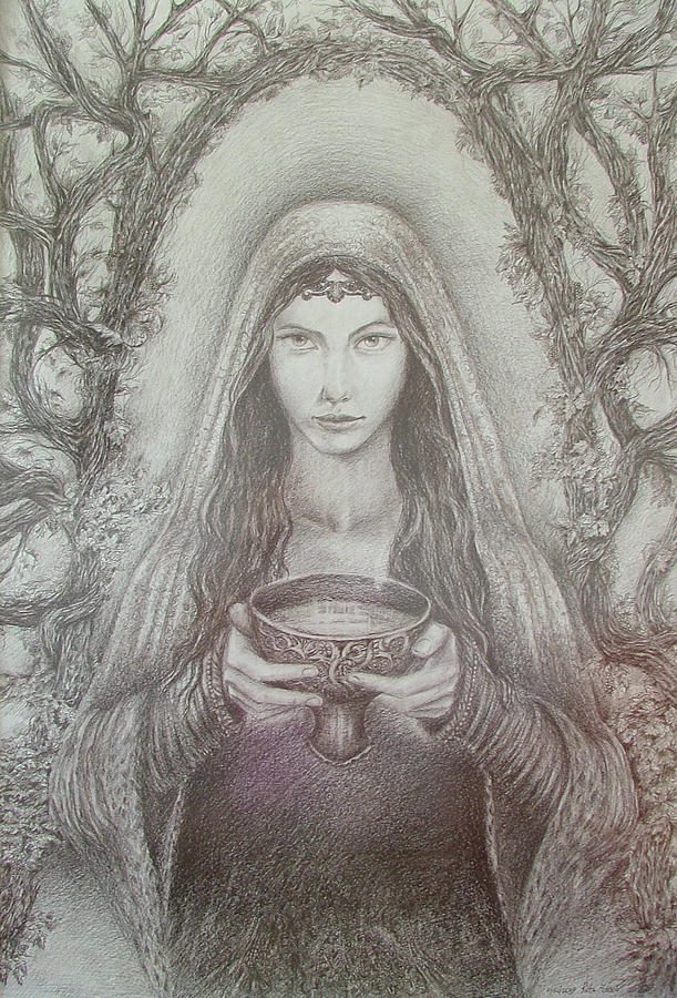 Girl Drawing - Take A Bowl Of Your Happiness by Rita Fetisov