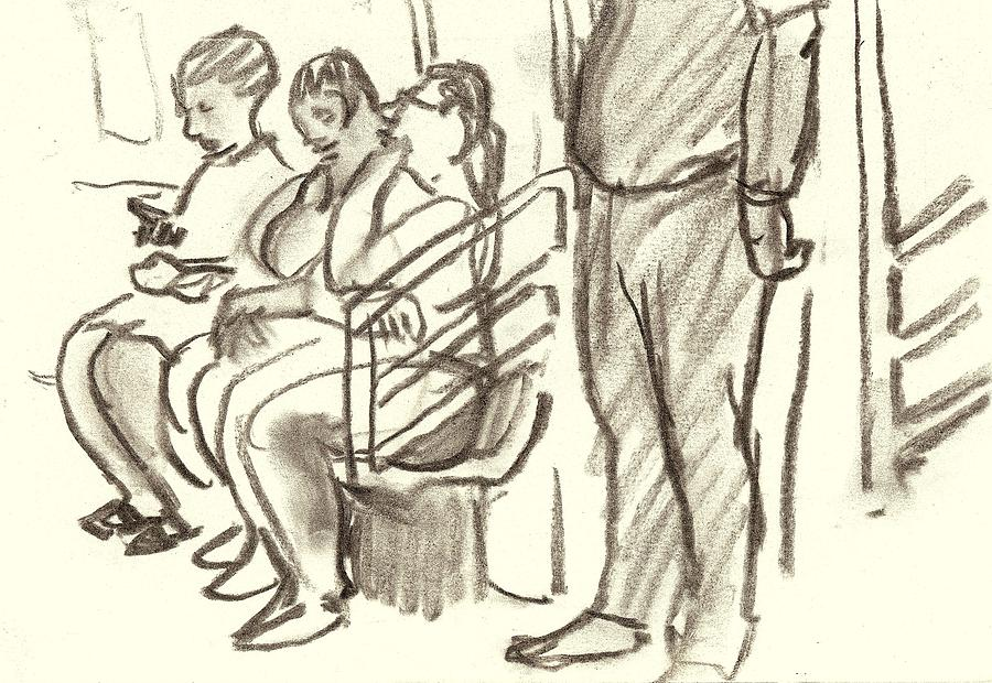 Subway Drawing - Take The C Train, Nyc by Thor Wickstrom