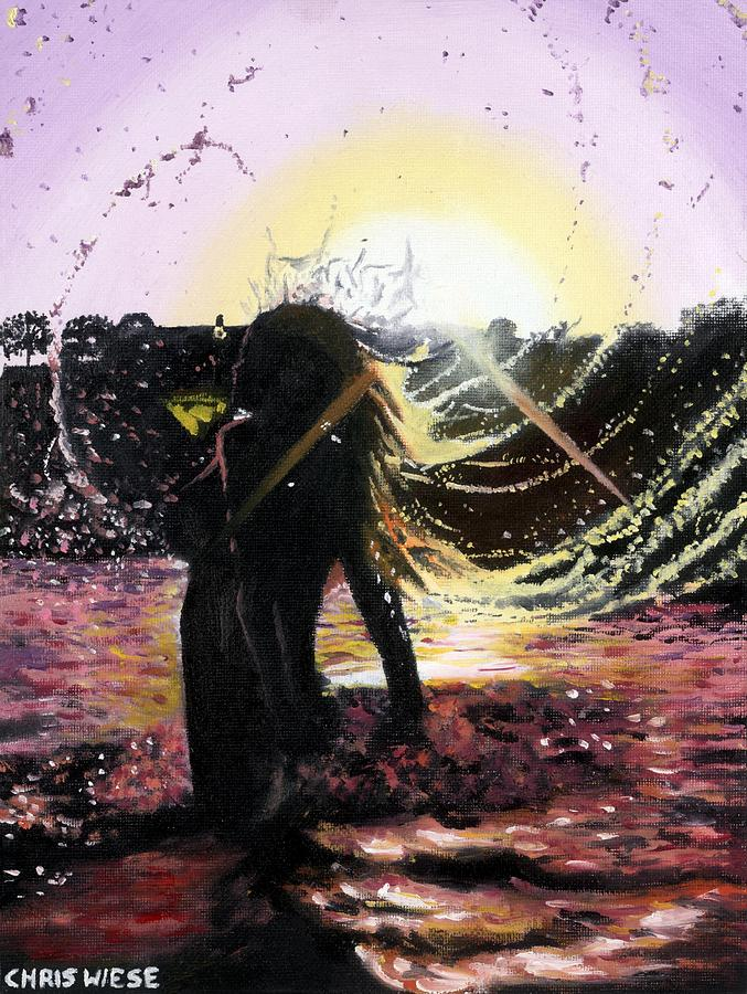 Sunset Painting - Taking A Dip by Chris Wiese
